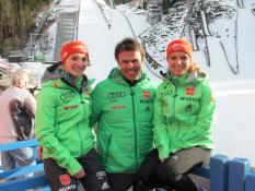 Katharina Althaus, Andi Bauer, Gianina Ernst, PK Oberstdorf